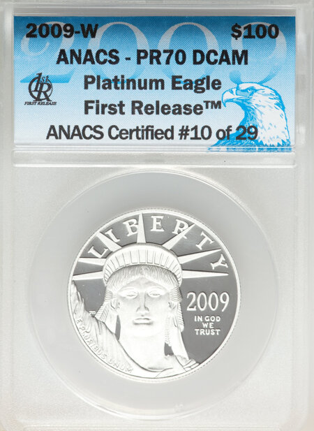 2009-W $100 One-Ounce Platinum Eagle First Strike, DC 70 ANACS