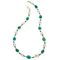 Estate Jewelry:Necklaces, Emerald, Fresh Water Cultured Pearl, Gold Necklace . ...