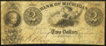 Obsoletes By State:Michigan, Detroit, MI- Bank of Michigan $2 Oct. 1839 Very Good.. ...