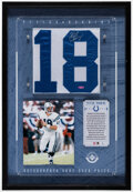 Autographs:Jerseys, 2001 Peyton Manning Signed Game Used Jersey Piece Display - UDA....