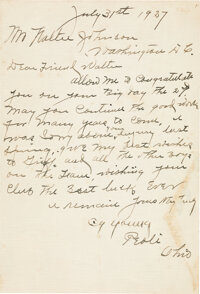 1927 Cy Young Handwritten Signed Letter of Congratulations to Walter Johnson