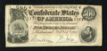 Confederate Notes:1864 Issues, T64 $500 1864. Even wear and sound edges save for missing the extreme upper left-hand corner tip are traits of this Lost Cau...