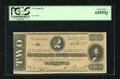 Confederate Notes:1864 Issues, T70 $2 1864. This Deuce exhibits the cut often found on notes of this Criswell number with a touch of tightness at left. P...