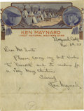Movie/TV Memorabilia:Autographs and Signed Items, Ken Maynard Autograph on his Cowboy Stationery. The rise and fallof cowboy star Ken Maynard (1895-1973) is the stuff of Ho...