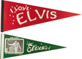 "Music Memorabilia:Memorabilia, Elvis Presley Felt Banners. A pair of vintage felt Elvis banners: one in red, 29.5"" x 12"", reading ""I Love Elvis"" and decora..."