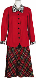 Movie/TV Memorabilia:Costumes, Dale Evans Suit Coat and Skirt. A red coat with animal print collarand cuffs with a plaid skirt, owned and worn by Evans. I...