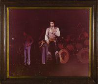 "Elvis Presley Live Onstage Photo From His Trophy Room. a large color 28.5"" x 24"" framed photo of Elvis perform..."