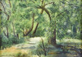 Fine Art - Painting, American:Other , CLARA FERN MATTHEWS. Forest landscape. Watercolor on paper.Signed to lower left. Matted, framed and under glass. 10-1/8...