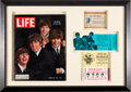 Music Memorabilia:Memorabilia, The Beatles Unused Concert Tickets and Life Magazine In Frame Including Ticket to First Proper Show With Ringo Sta...