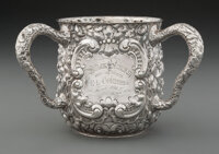 A Gorham Mfg. Co. Silver Three-Handled Presentation Cup, Providence, 1895 Marks: (lion-anchor-G), STERLING, 2-1/2 PINT...