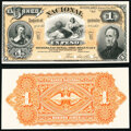 Argentina Banco Nacional 1 Peso 1.1.1883 Pick S676p Front and Back Proofs Crisp Uncirculated(2). ... (Total: 2 notes)