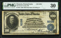 National Bank Notes:Pennsylvania, Tionesta, PA - $100 1902 Plain Back Fr. 704 The Forest County National Bank Ch. # 5038 PMG Very Fine 30.. ...