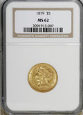 Liberty Half Eagles: , 1879 $5 MS62 NGC. . NGC Census: (80/45). PCGS Population (51/35).Mintage: 301,950. Numismedia Wsl. Price for NGC/PCGS coin...