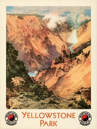 "Yellowstone Park (Northern Pacific Railway, 1924). Rolled, Very Fine. Travel Poster (30"" X 40"") Thomas Moran A..."