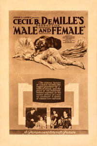 """Male and Female (Paramount-Artcraft, 1919). Very Fine- on Linen. One Sheet (28.25"""" X 42.25"""") Rotogravure Style..."""