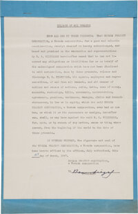 "Benjamin ""Bugsy"" Siegel Legal Document Signed"