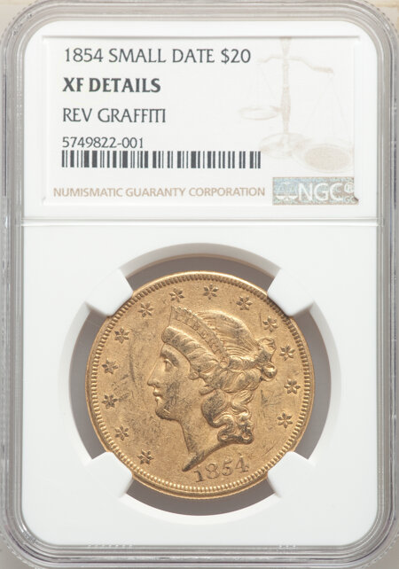 1854 $20 Small Date 40 Details NGC
