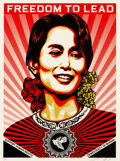 Prints & Multiples, Shepard Fairey (b. 1970). Aung San Suu Kyi, 2009. Screenprint in colors on speckled cream paper. 24 x 18 inches (61 x 45...