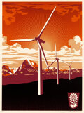 Prints & Multiples, Shepard Fairey (b. 1970). OBEY Windmill, 2009. Screenprint in colors on speckled cream paper . 24 x 18 inches (61 x 45.7...