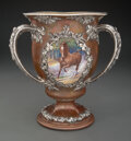 Silver & Vertu, A Gorham Mfg. Co. Mixed Metal and Painted Enamel Two-Handled Trophy, Providence, Rhode Island , 1902. Marks: (anchor), GOR...