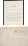 Miscellaneous, [Abraham Lincoln]. Willie Lincoln Printed Funeral Address ... (Total: 2 )