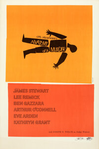"""Anatomy of a Murder by Saul Bass (Columbia, c. 1985). Very Fine- on Linen. Signed Limited Edition Print (27"""" X 41&q..."""