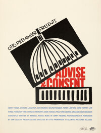 """Advise & Consent by Saul Bass (Columbia, 1984). Very Fine+ on Linen. Signed Limited Edition Print (26.5"""" X 30&q..."""