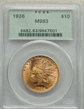 Indian Eagles: , 1926 $10 MS63 PCGS. PCGS Population: (14358/4916). NGC Census: (16442/5290). CDN: $1,125 Whsle. Bid for NGC/PCGS MS63. Mint...
