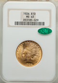 Indian Eagles: , 1926 $10 MS63 NGC. CAC. NGC Census: (16442/5290). PCGS Population: (14358/4916). CDN: $1,125 Whsle. Bid for NGC/PCGS MS63. ...