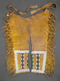 American Indian Art:Beadwork and Quillwork, A Pair of Plateau Man's Beaded Hide Leggings...