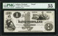 Obsoletes By State:Indiana, Portland, IN- Bank of Portland $1 18__ G2 Proof PMG About Uncirculated 55.. ...