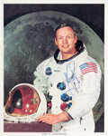 Explorers:Space Exploration, Neil Armstrong Signed, Uninscribed White Spacesuit Color Photo, with LOA from Astronaut Archives. ...