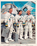 Explorers:Space Exploration, Apollo 10 Vintage Crew-Signed White Spacesuit Color Photo....