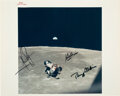"""Explorers:Space Exploration, Apollo 11 Crew-Signed Vintage NASA """"Red Number"""" Lunar Rend..."""