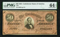 Confederate Notes:1864 Issues, Radar Serial Number 56565 T66 $50 1864 PF-1 Cr. 495 PMG Choice Uncirculated 64 EPQ.. ...