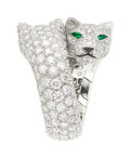 Estate Jewelry:Rings, Diamond, Emerald, Onyx, White Gold Ring, Cartier, French . ...