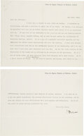 Autographs:Inventors, William Osler Typed Letter Signed ... (Total: 2 Items)