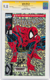 Spider-Man #1 Platinum Edition - Signature Series: Stan Lee and Todd McFarlane (Marvel, 1990) CGC NM/MT 9.8 White pages...