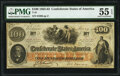 Confederate Notes:1862 Issues, T41 $100 1862 PF-11 Cr. 319A. PMG About Uncirculated 55 EPQ.. ...