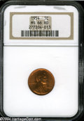 Lincoln Cents: , 1954 1C MS66 Red NGC. Sharply defined with rich, cherry-...