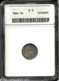 Seated Half Dimes: , 1864 H10C Good 6 ANACS. Cream-gray, steel-blue, and peach ...