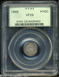 Seated Half Dimes: , 1865 H10C VF25 PCGS. LIBERTY is fully legible when viewed ...