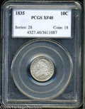 Bust Dimes: , 1835 10C XF40 PCGS. JR-3, R.2. Mostly brilliant with ...