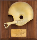 Football Collectibles:Others, 1968 Golden Helmet Pro Bowl Award Presented to Forrest Gregg....