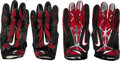 Football Collectibles:Others, 2010's Larry Fitzgerald Game Worn Arizona Cardinals Gloves Lot of 2 Pairs.... (Total: 2 items)