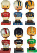 Football Collectibles:Others, Early 1960's NFL Square Base Nodders Lot of 6 (Packers, Bears, Cowboys, Rams, Cardinals and 49ers).... (Total: 6 items)