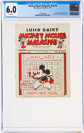 Platinum Age (1897-1937):Miscellaneous, Mickey Mouse Magazine Dairy Giveaway V2#3 (Walt Disney Productions, 1935) CGC FN 6.0 White pages....