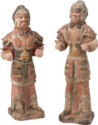 A Pair of Chinese Painted and Gilded Pottery Lokapala, Tang Dynasty 28-3/8 inches (72 cm) (each) Together with