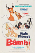 """Movie Posters:Animation, Bambi (Buena Vista, R-1966). Folded, Fine/Very Fine. One Sheet (27"""" X 41"""") Style A. Animation.. ..."""