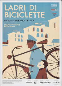 "The Bicycle Thieves (Cineteca Bologna, R-2018). Folded, Very Fine+. Italian 2 - Fogli (39.5"" X 55"") Iker Ayest..."